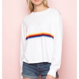 Brandy Melville long sleeve cropped striped tshirt